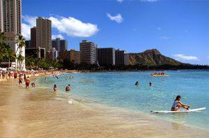 Bãi biển Waikiki với làn nước mát trong xanh ở Honohuhu